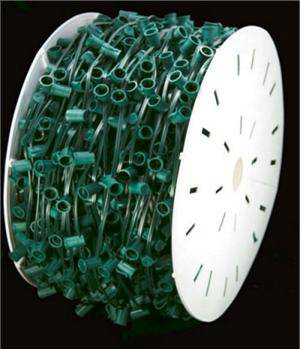 C7 Bulk Wire and Sockets 1000 Ft GREEN